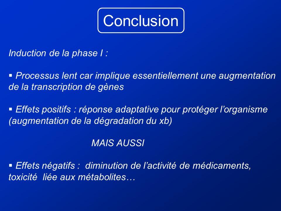 Conclusion Induction de la phase I : Processus lent car implique essentiellement une augmentation de la transcription de gènes Effets positifs : répon