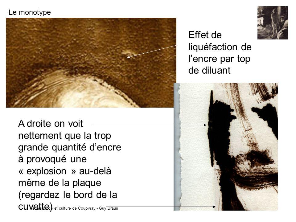 Le monotype Renaissance et culture de Coupvray - Guy Braun 8 Effet de liquéfaction de lencre par top de diluant A droite on voit nettement que la trop grande quantité dencre à provoqué une « explosion » au-delà même de la plaque (regardez le bord de la cuvette)