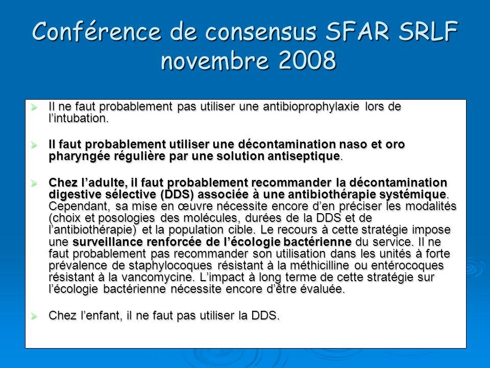 Conférence de consensus SFAR SRLF novembre 2008 Il ne faut probablement pas utiliser une antibioprophylaxie lors de lintubation. Il ne faut probableme