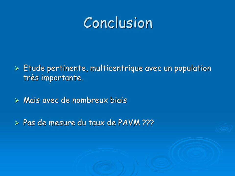 Conclusion Etude pertinente, multicentrique avec un population très importante. Etude pertinente, multicentrique avec un population très importante. M
