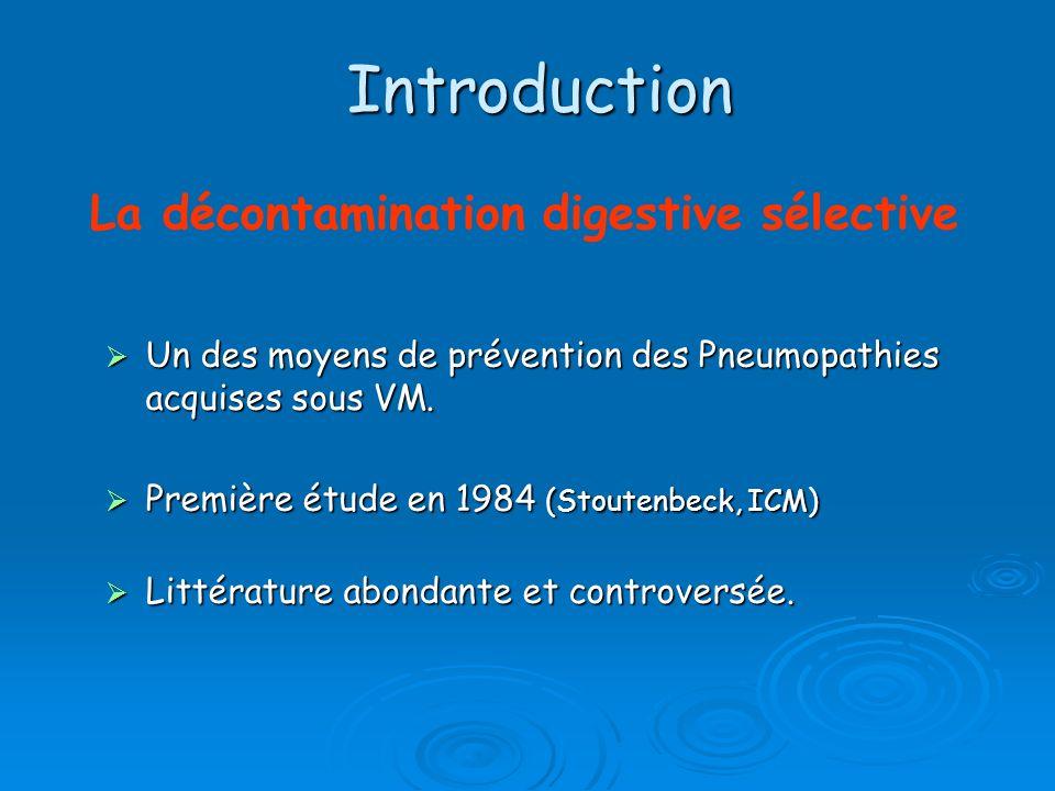 Introduction Un des moyens de prévention des Pneumopathies acquises sous VM. Un des moyens de prévention des Pneumopathies acquises sous VM. Première