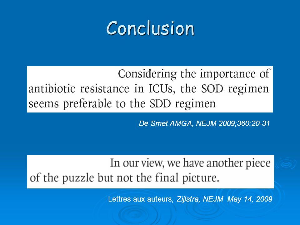 Conclusion De Smet AMGA, NEJM 2009;360:20-31 Lettres aux auteurs, Zijlstra, NEJM May 14, 2009