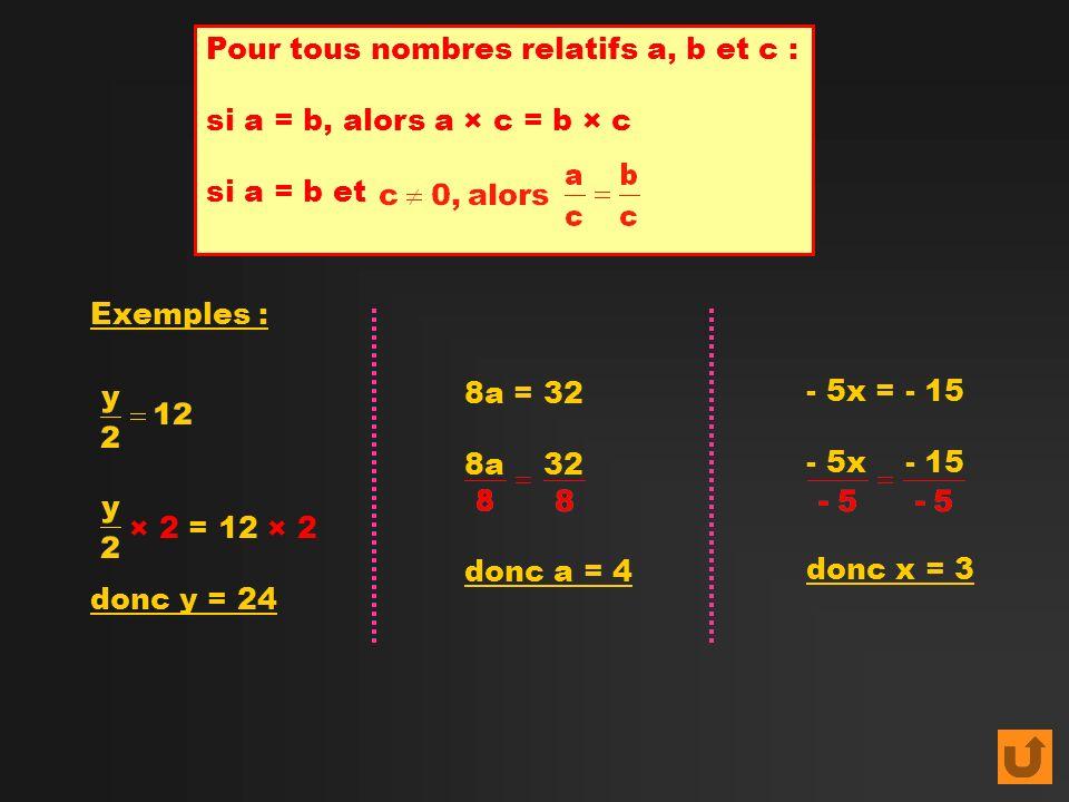 Pour tous nombres relatifs a, b et c : si a = b, alors a × c = b × c si a = b et Exemples : × 2 = 12 × 2 donc y = 24 8a = 32 8a 32 donc a = 4 - 5x = -
