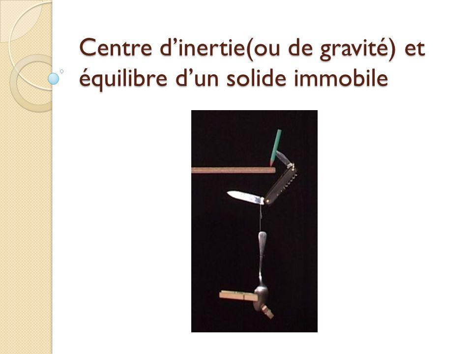 Centre dinertie(ou de gravité) et équilibre dun solide immobile