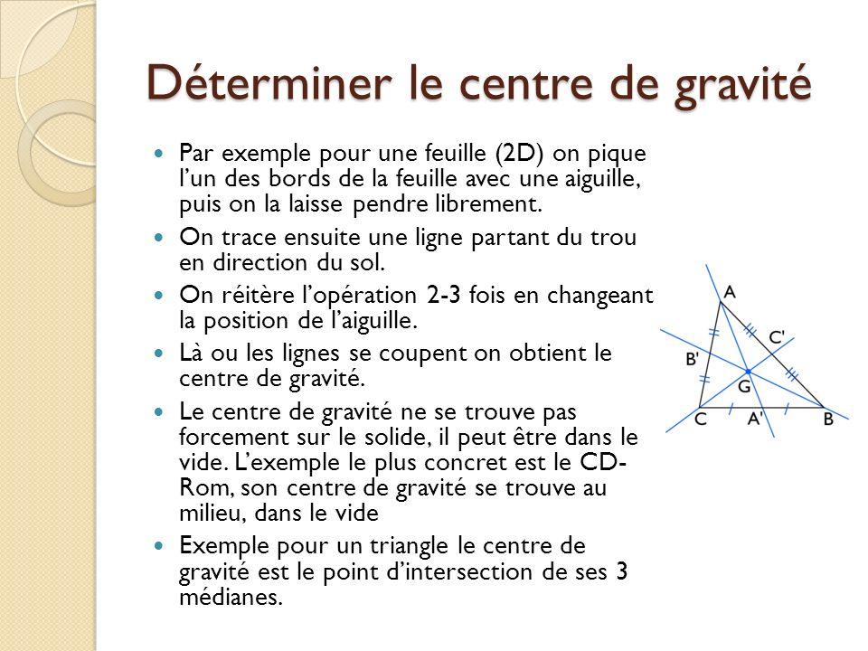 Déterminer le centre de gravité Par exemple pour une feuille (2D) on pique lun des bords de la feuille avec une aiguille, puis on la laisse pendre lib