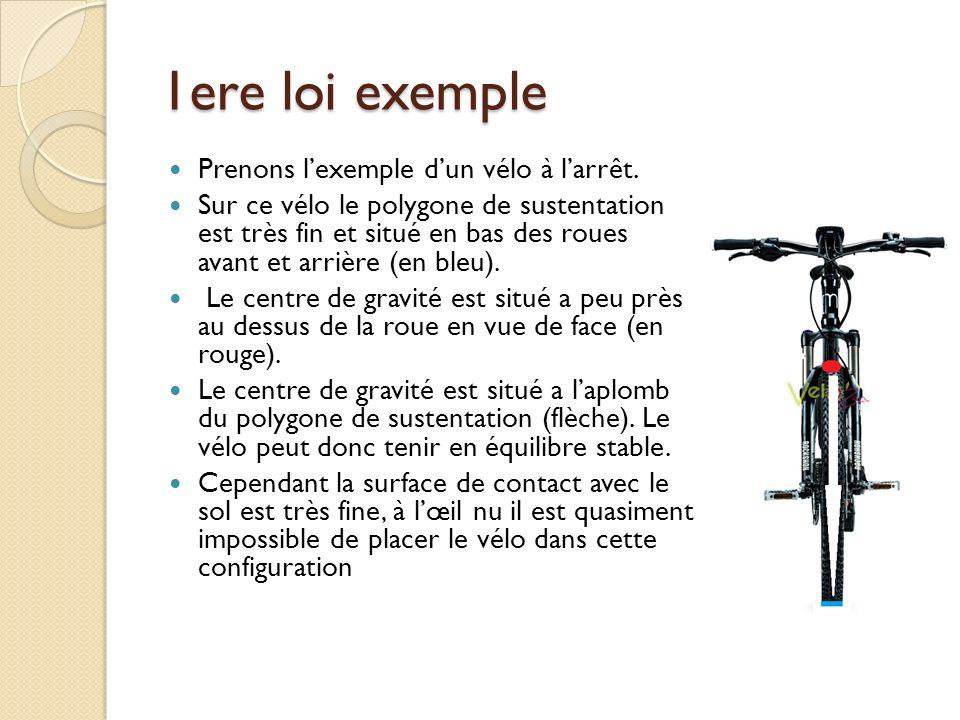 1ere loi exemple Prenons lexemple dun vélo à larrêt. Sur ce vélo le polygone de sustentation est très fin et situé en bas des roues avant et arrière (