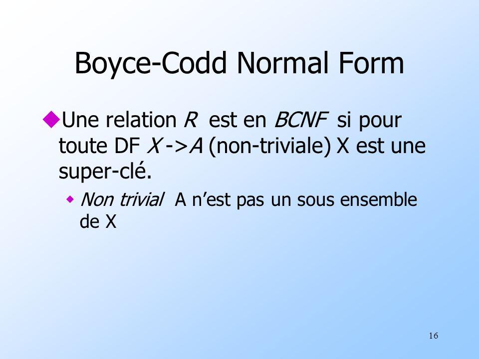16 Boyce-Codd Normal Form uUne relation R est en BCNF si pour toute DF X ->A (non-triviale) X est une super-clé. wNon trivial A nest pas un sous ensem