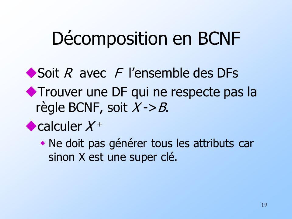 19 Décomposition en BCNF uSoit R avec F lensemble des DFs uTrouver une DF qui ne respecte pas la règle BCNF, soit X ->B.