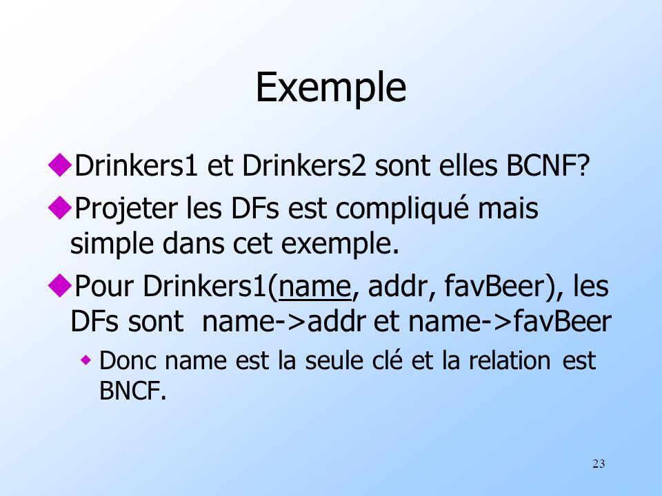 23 Exemple uDrinkers1 et Drinkers2 sont elles BCNF? uProjeter les DFs est compliqué mais simple dans cet exemple. uPour Drinkers1(name, addr, favBeer)