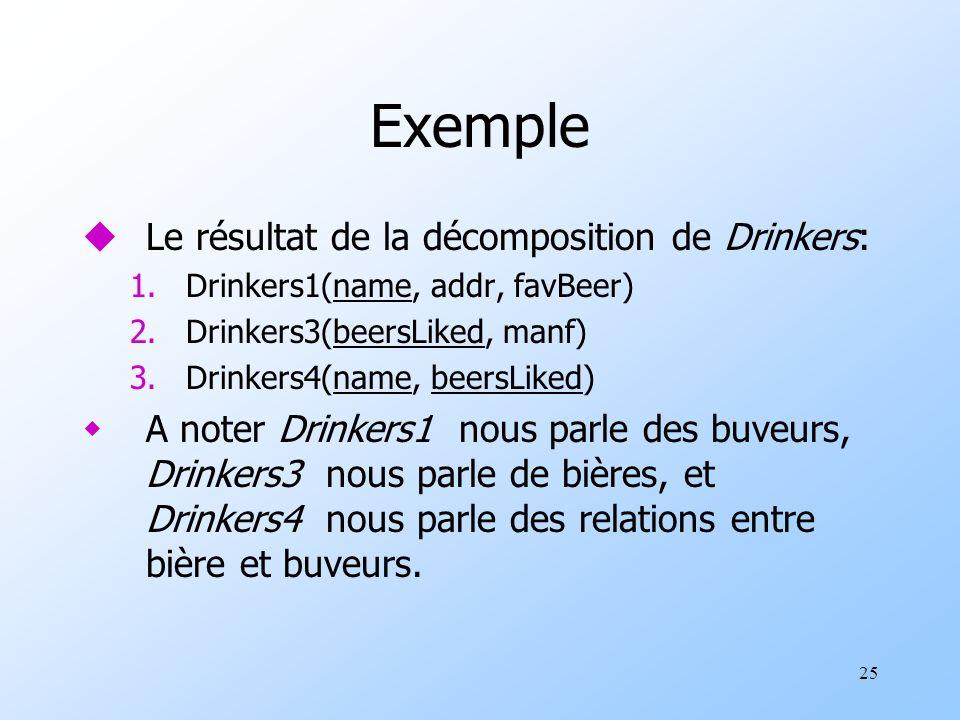 25 Exemple uLe résultat de la décomposition de Drinkers: 1.Drinkers1(name, addr, favBeer) 2.Drinkers3(beersLiked, manf) 3.Drinkers4(name, beersLiked) wA noter Drinkers1 nous parle des buveurs, Drinkers3 nous parle de bières, et Drinkers4 nous parle des relations entre bière et buveurs.