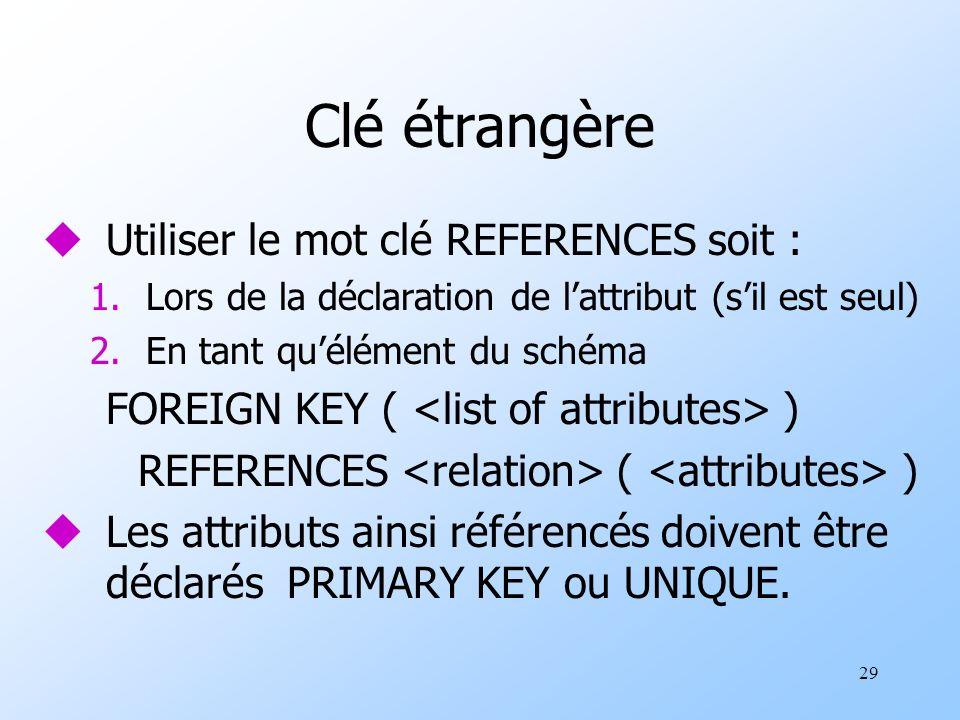 29 Clé étrangère uUtiliser le mot clé REFERENCES soit : 1.Lors de la déclaration de lattribut (sil est seul) 2.En tant quélément du schéma FOREIGN KEY ( ) REFERENCES ( ) uLes attributs ainsi référencés doivent être déclarés PRIMARY KEY ou UNIQUE.