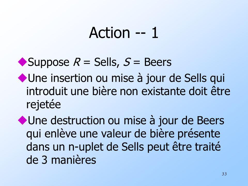 33 Action -- 1 uSuppose R = Sells, S = Beers uUne insertion ou mise à jour de Sells qui introduit une bière non existante doit être rejetée uUne destruction ou mise à jour de Beers qui enlève une valeur de bière présente dans un n-uplet de Sells peut être traité de 3 manières