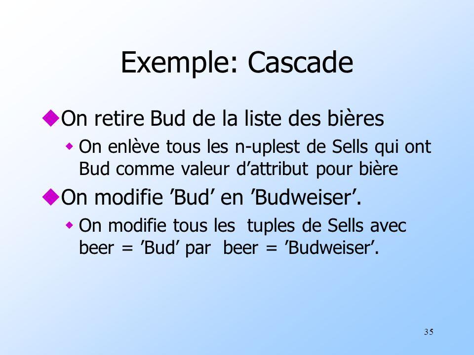 35 Exemple: Cascade uOn retire Bud de la liste des bières wOn enlève tous les n-uplest de Sells qui ont Bud comme valeur dattribut pour bière uOn modifie Bud en Budweiser.