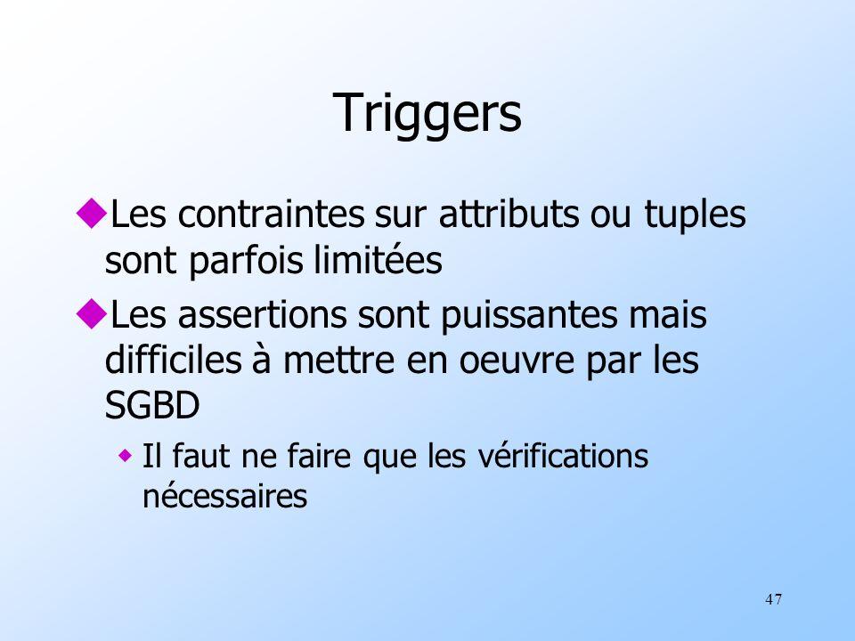 47 Triggers uLes contraintes sur attributs ou tuples sont parfois limitées uLes assertions sont puissantes mais difficiles à mettre en oeuvre par les SGBD wIl faut ne faire que les vérifications nécessaires