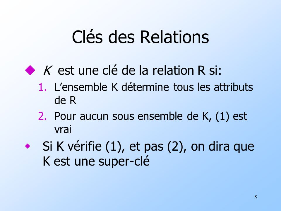 5 Clés des Relations uK est une clé de la relation R si: 1.Lensemble K détermine tous les attributs de R 2.Pour aucun sous ensemble de K, (1) est vrai wSi K vérifie (1), et pas (2), on dira que K est une super-clé