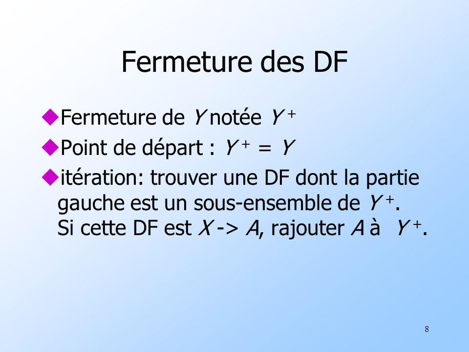 8 Fermeture des DF uFermeture de Y notée Y + uPoint de départ : Y + = Y uitération: trouver une DF dont la partie gauche est un sous-ensemble de Y +.