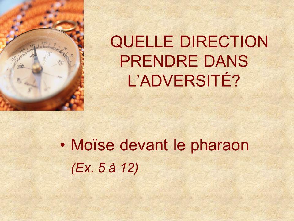QUELLE DIRECTION PRENDRE DANS LADVERSITÉ Moïse devant le pharaon (Ex. 5 à 12)