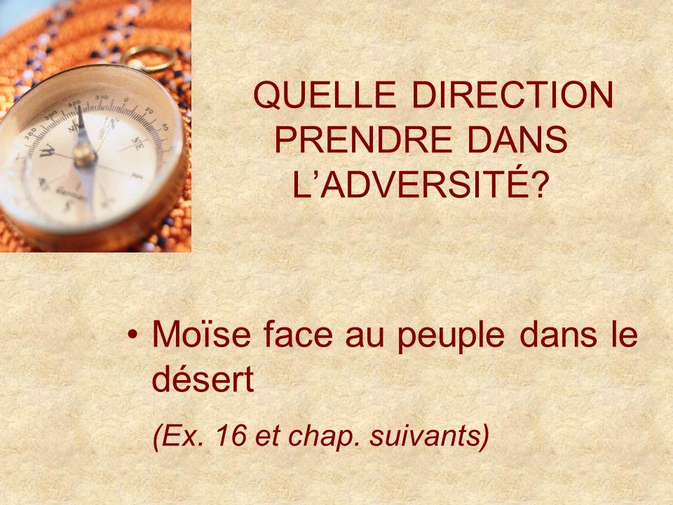 QUELLE DIRECTION PRENDRE DANS LADVERSITÉ. Moïse face au peuple dans le désert (Ex.