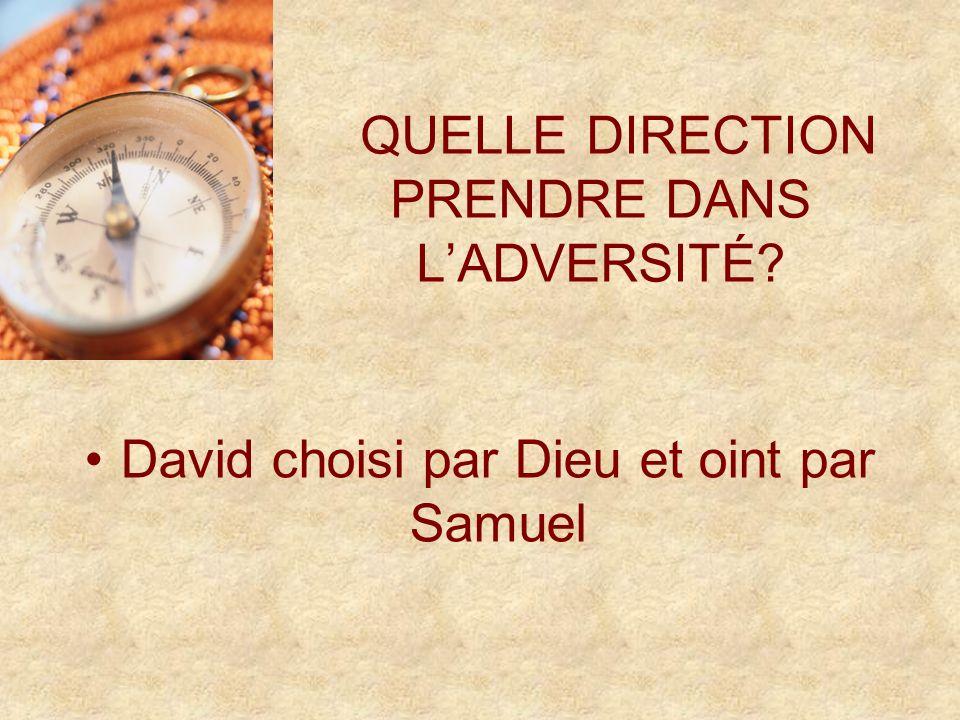 QUELLE DIRECTION PRENDRE DANS LADVERSITÉ David choisi par Dieu et oint par Samuel