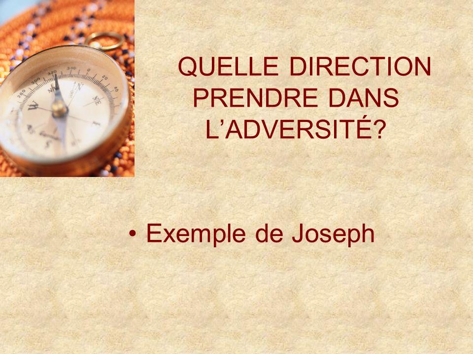 QUELLE DIRECTION PRENDRE DANS LADVERSITÉ Exemple de Joseph