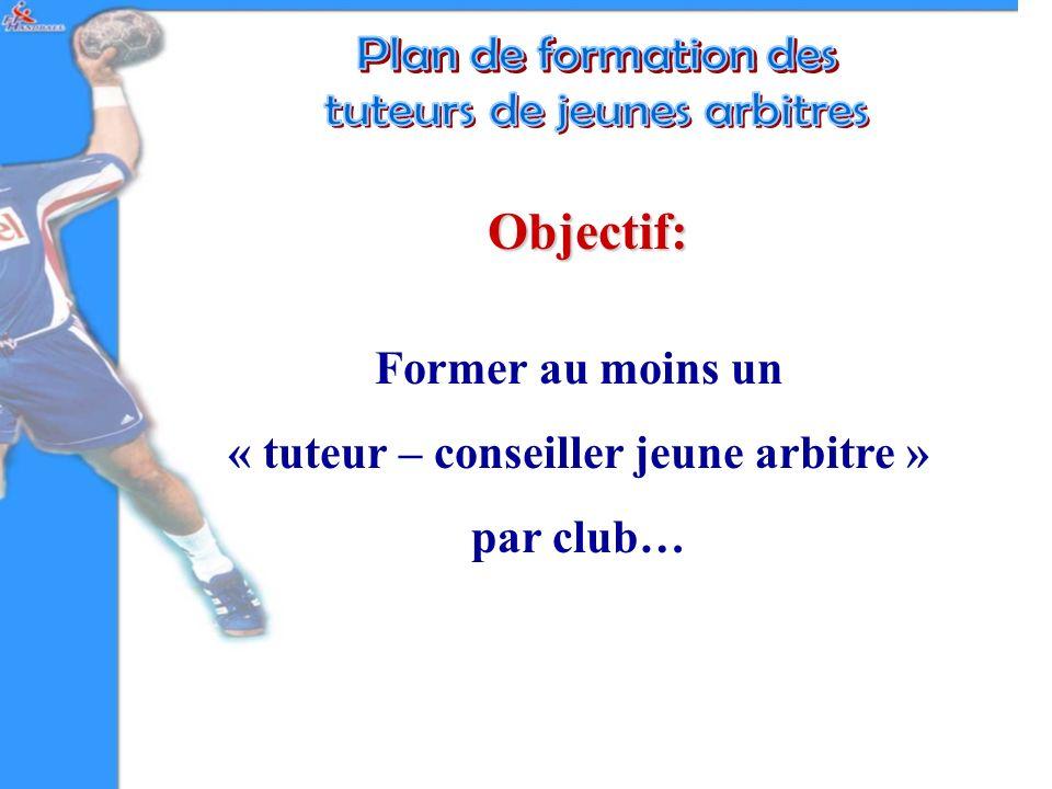 Objectif: Former au moins un « tuteur – conseiller jeune arbitre » par club…