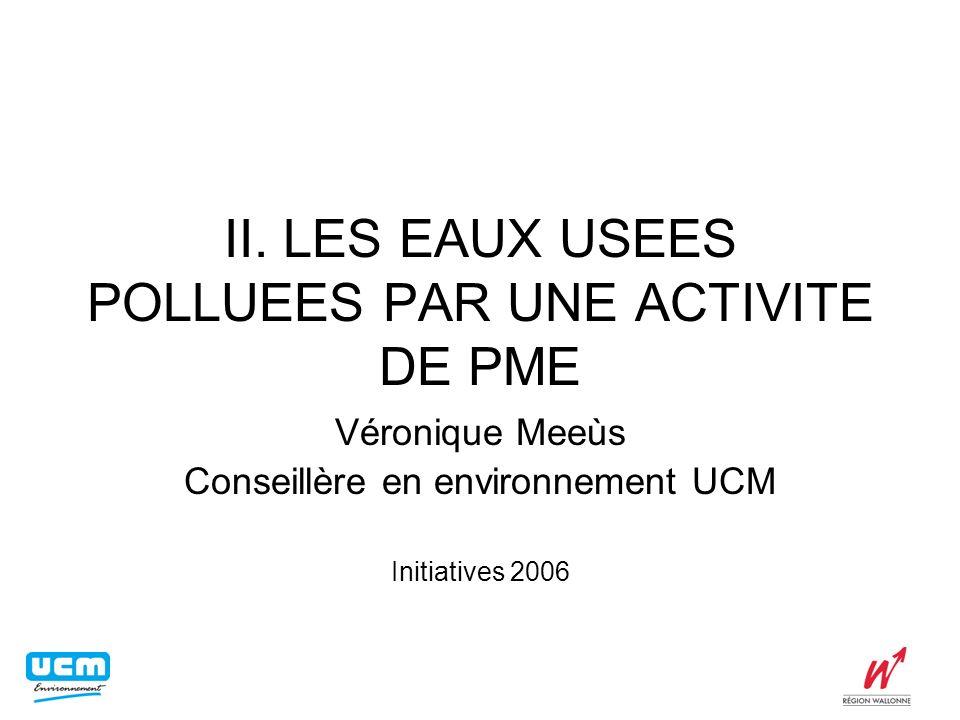 II. LES EAUX USEES POLLUEES PAR UNE ACTIVITE DE PME Véronique Meeùs Conseillère en environnement UCM Initiatives 2006