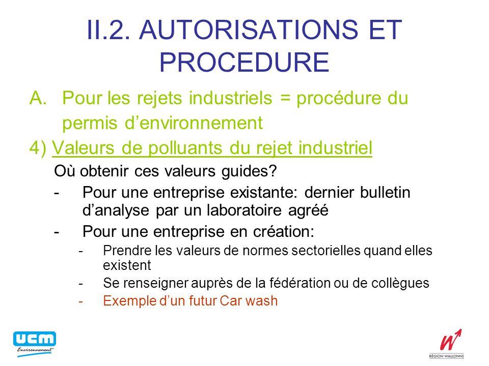 II.2. AUTORISATIONS ET PROCEDURE A.Pour les rejets industriels = procédure du permis denvironnement 4) Valeurs de polluants du rejet industriel Où obt