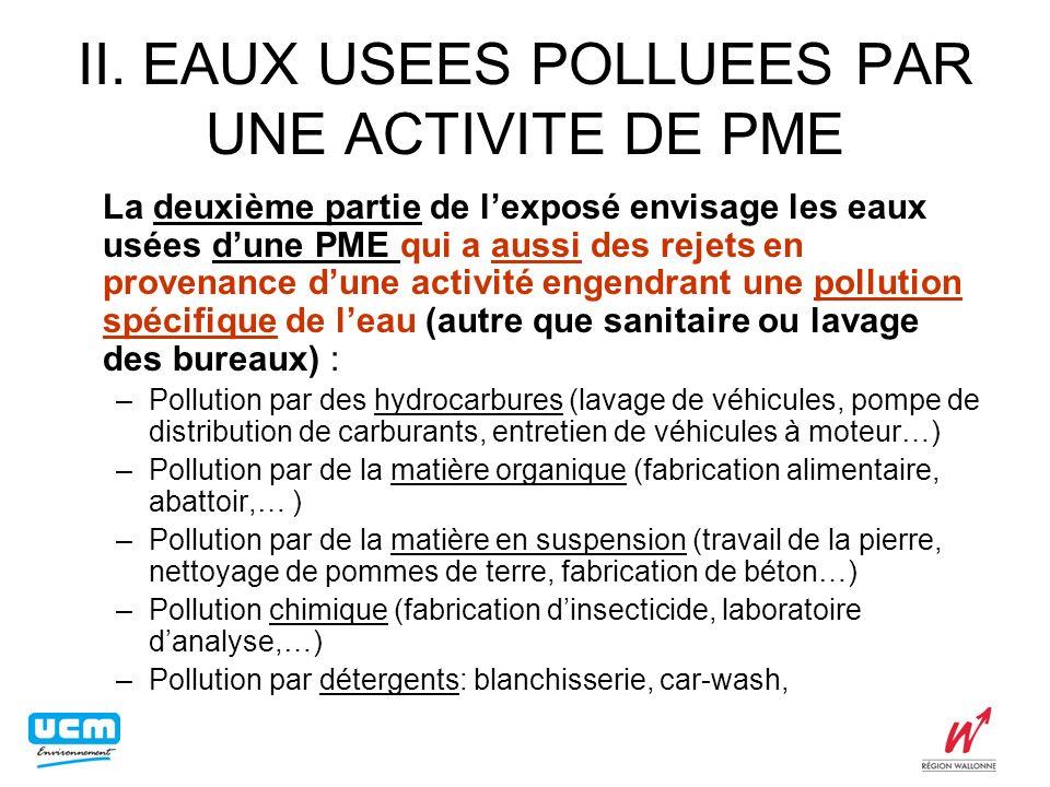 II. EAUX USEES POLLUEES PAR UNE ACTIVITE DE PME La deuxième partie de lexposé envisage les eaux usées dune PME qui a aussi des rejets en provenance du