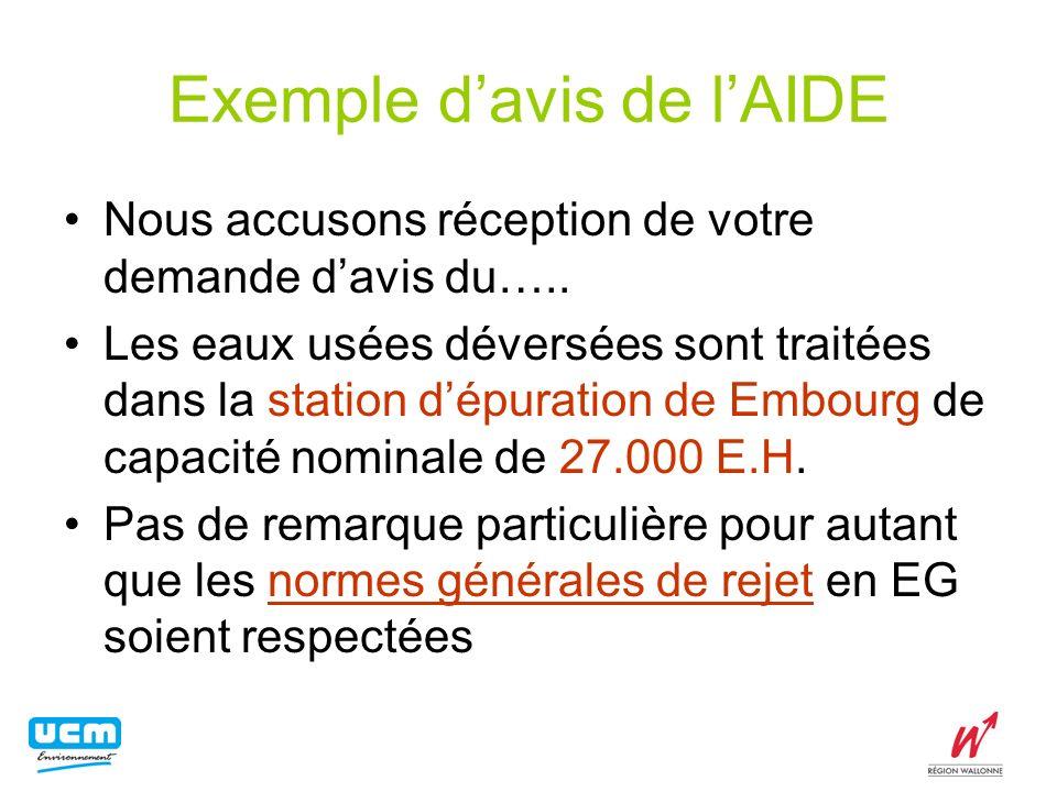 Exemple davis de lAIDE Nous accusons réception de votre demande davis du….. Les eaux usées déversées sont traitées dans la station dépuration de Embou
