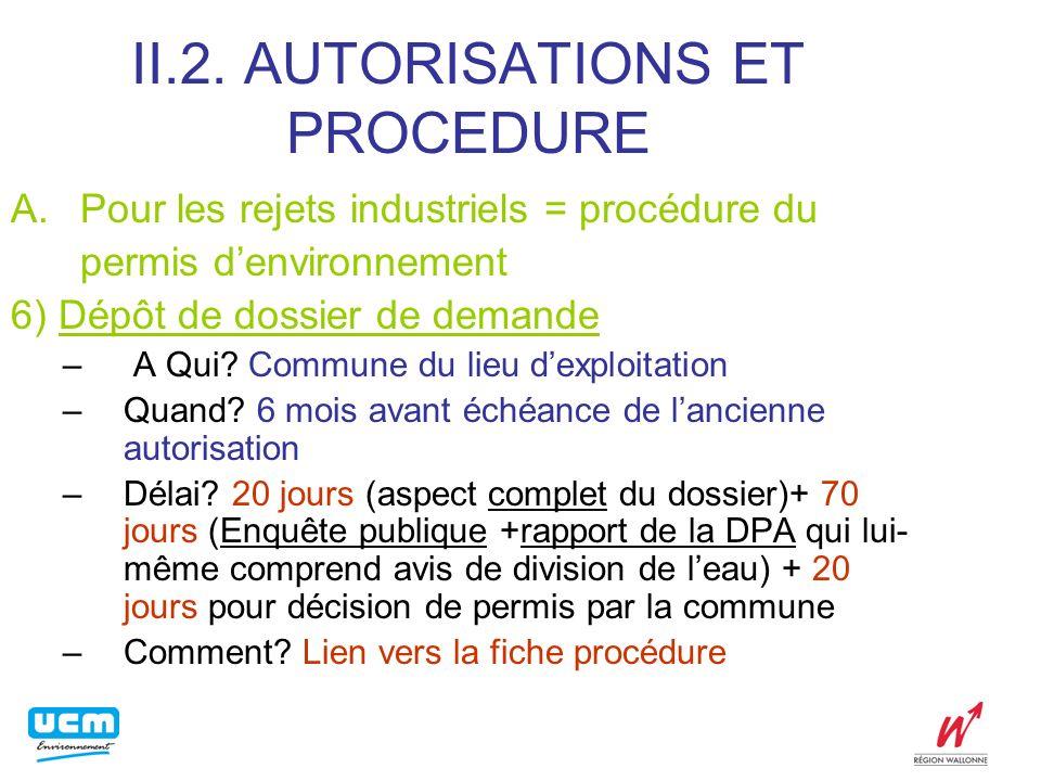 II.2. AUTORISATIONS ET PROCEDURE A.Pour les rejets industriels = procédure du permis denvironnement 6) Dépôt de dossier de demande – A Qui? Commune du