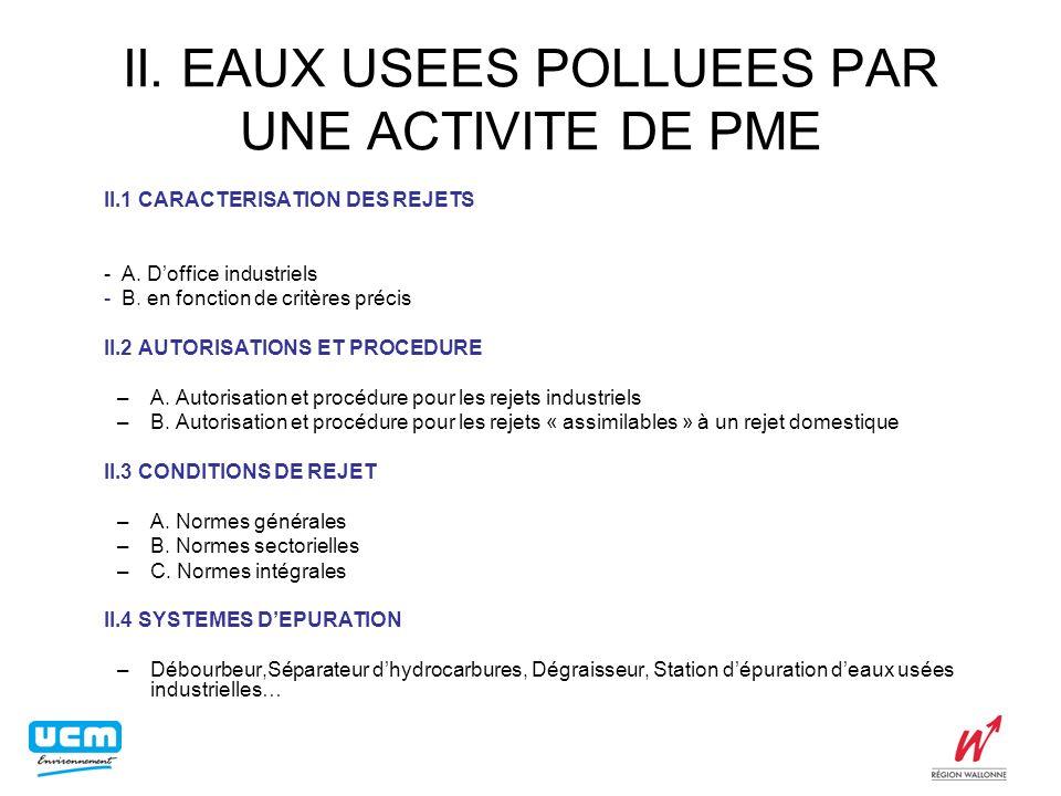 II. EAUX USEES POLLUEES PAR UNE ACTIVITE DE PME II.1 CARACTERISATION DES REJETS - A. Doffice industriels - B. en fonction de critères précis II.2 AUTO