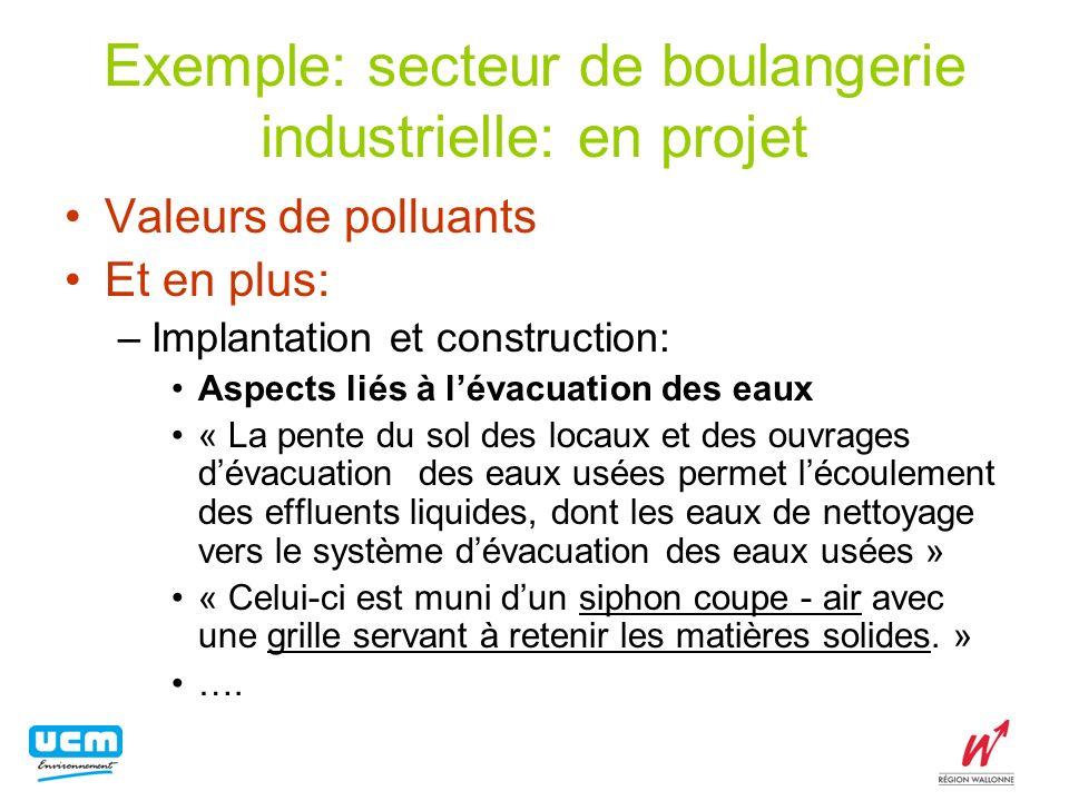 Exemple: secteur de boulangerie industrielle: en projet Valeurs de polluants Et en plus: –Implantation et construction: Aspects liés à lévacuation des