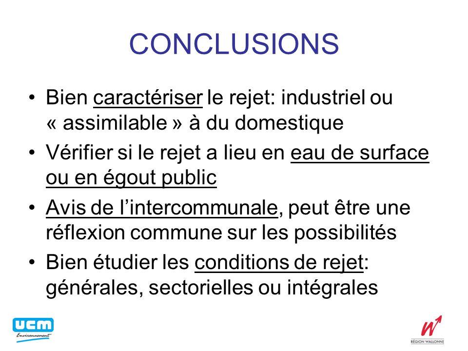 CONCLUSIONS Bien caractériser le rejet: industriel ou « assimilable » à du domestique Vérifier si le rejet a lieu en eau de surface ou en égout public