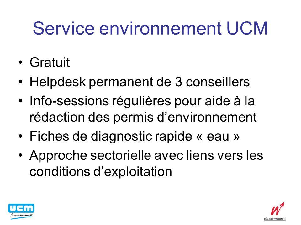 Service environnement UCM Gratuit Helpdesk permanent de 3 conseillers Info-sessions régulières pour aide à la rédaction des permis denvironnement Fich