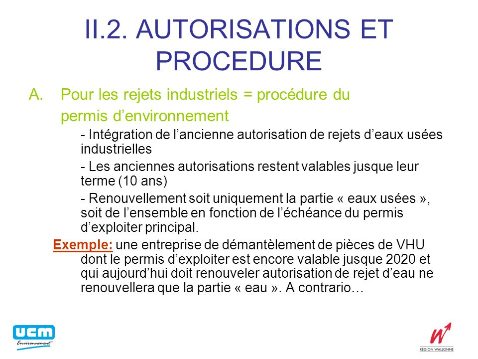 II.3. CONDITIONS DE REJET A. Normes générales B. Normes sectorielles C. Normes intégrales