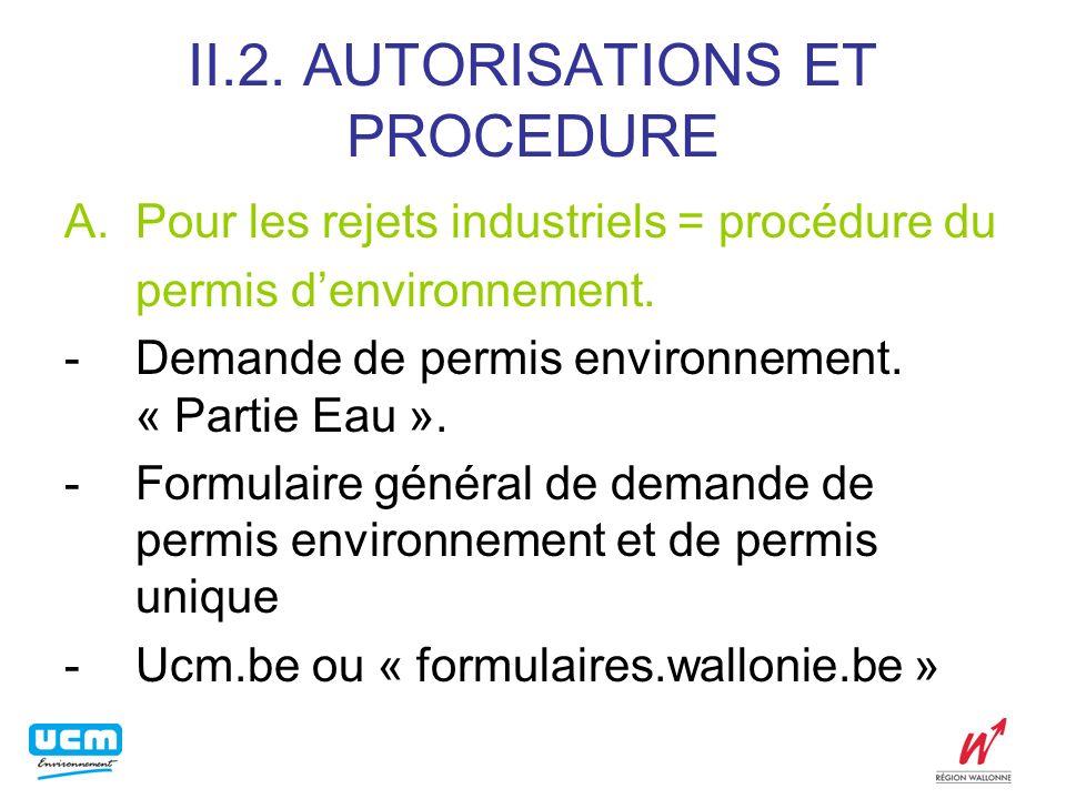 Exemple: secteur des abattoirs Déversement en eaux de surface Normes générales(AR 3/08/1976), art.7: DBO5 à 20°C: a) 30 mg/L eaux côtières et cours deau navigables b) 15 mg/L autres eaux de surface Conditions sectorielles abattoirs ( 2/08/85): Dérogation à lart.7, 3°, a et b DBO5 à 20°C: 50mg/L