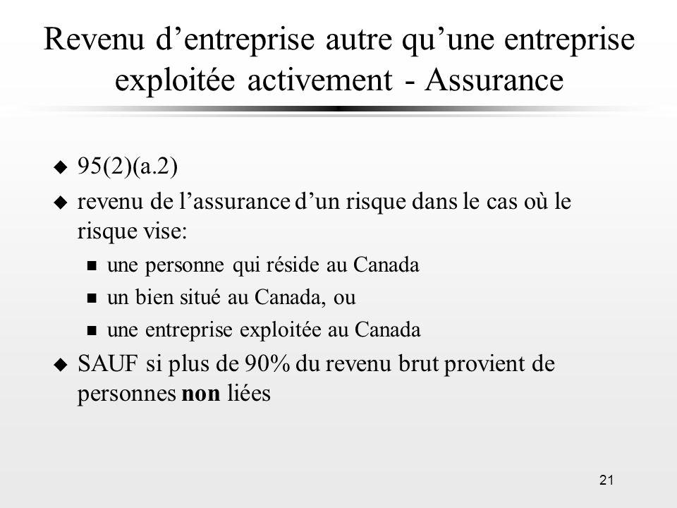 21 Revenu dentreprise autre quune entreprise exploitée activement - Assurance u 95(2)(a.2) u revenu de lassurance dun risque dans le cas où le risque