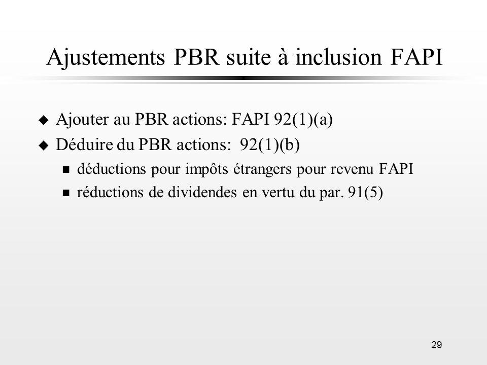 29 Ajustements PBR suite à inclusion FAPI u Ajouter au PBR actions: FAPI 92(1)(a) u Déduire du PBR actions: 92(1)(b) n déductions pour impôts étranger