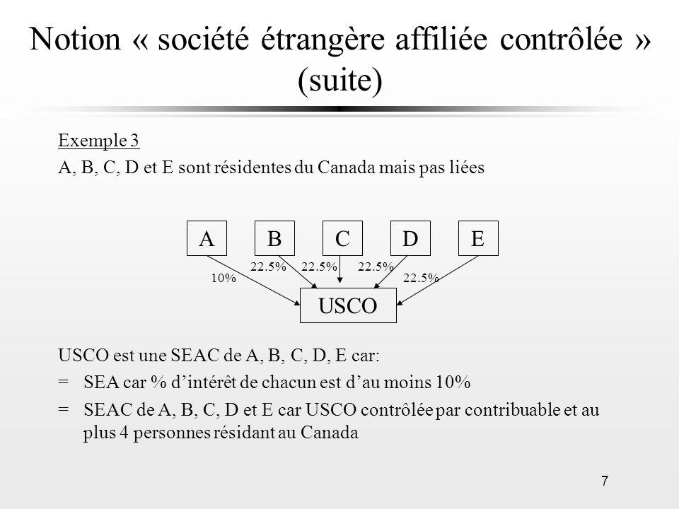 7 Notion « société étrangère affiliée contrôlée » (suite) Exemple 3 A, B, C, D et E sont résidentes du Canada mais pas liées AEDCB USCO 10% 22.5% USCO