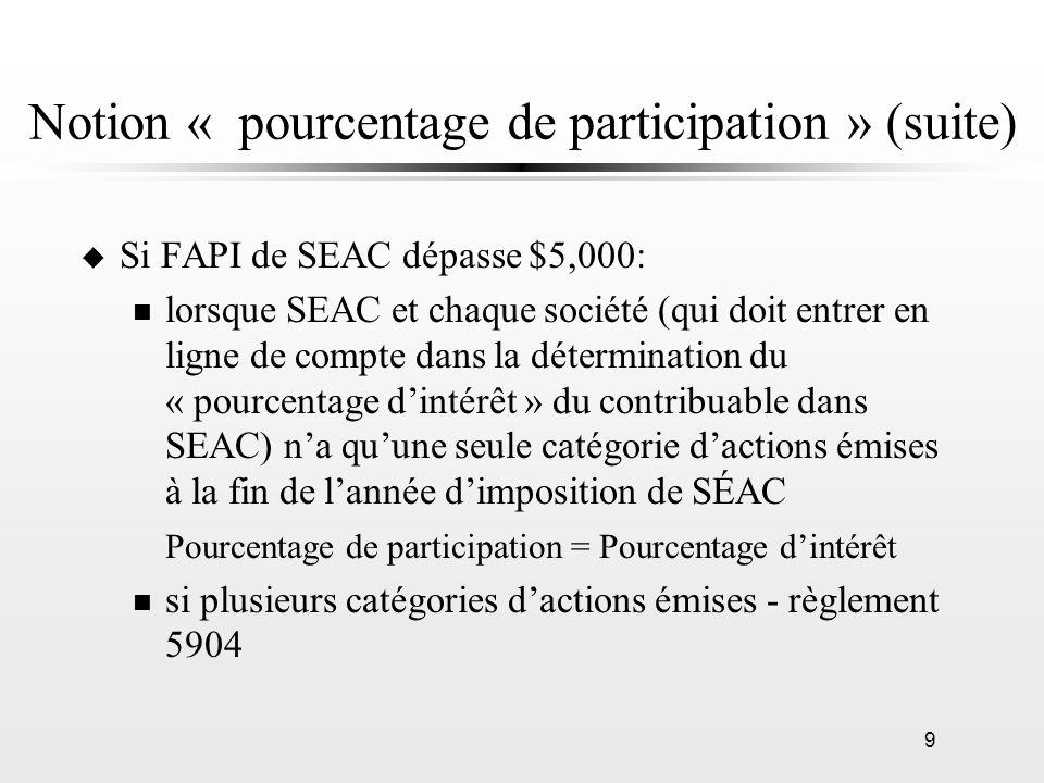 9 Notion « pourcentage de participation » (suite) u Si FAPI de SEAC dépasse $5,000: n lorsque SEAC et chaque société (qui doit entrer en ligne de comp