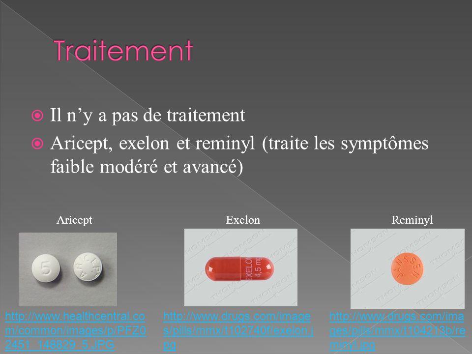 Il ny a pas de traitement Aricept, exelon et reminyl (traite les symptômes faible modéré et avancé) http://www.drugs.com/ima ges/pills/mmx/t104213b/re