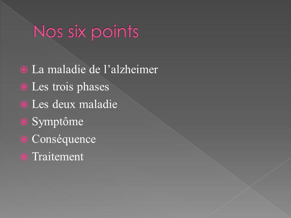 La maladie de lalzheimer Les trois phases Les deux maladie Symptôme Conséquence Traitement