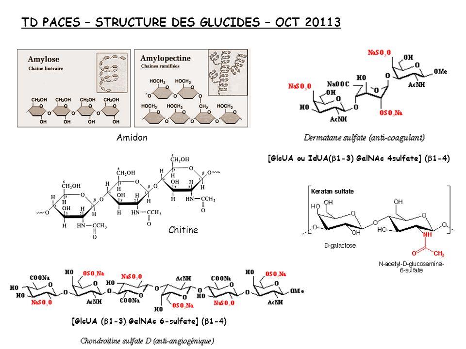 TD PACES – STRUCTURE DES GLUCIDES – OCT 20113 Amidon Chitine [GlcUA ou IdUA( 1-3) GalNAc 4sulfate] ( 1-4) [GlcUA ( 1-3) GalNAc 6-sulfate] ( 1-4)