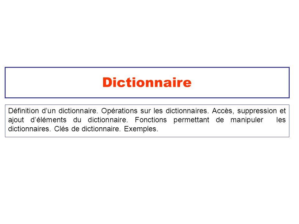 Dictionnaire Définition dun dictionnaire. Opérations sur les dictionnaires. Accès, suppression et ajout déléments du dictionnaire. Fonctions permettan