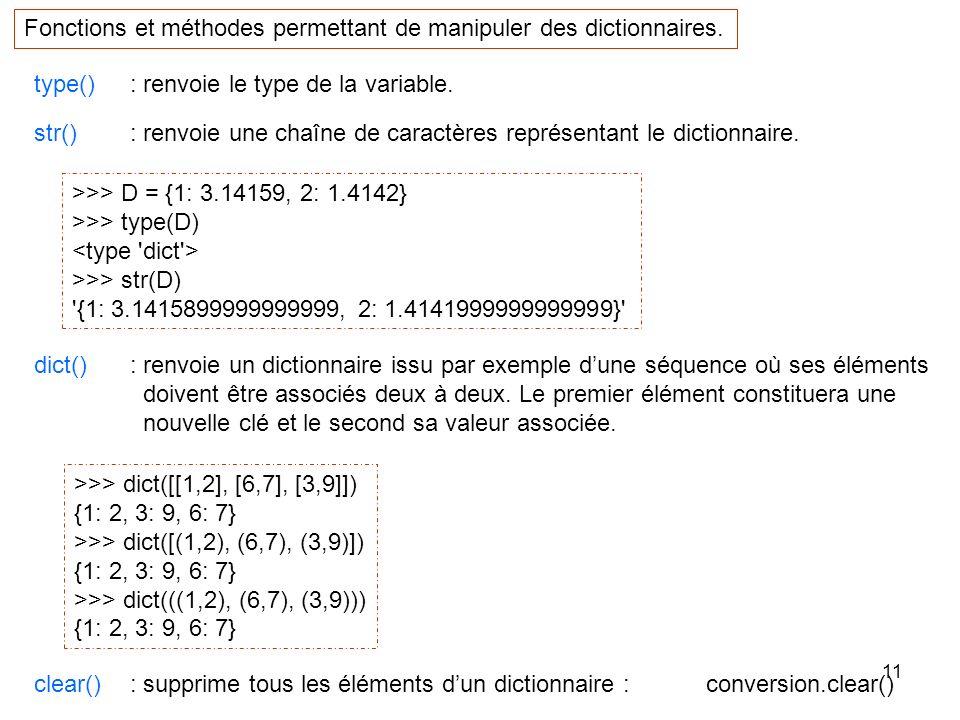 11 type() : renvoie le type de la variable. Fonctions et méthodes permettant de manipuler des dictionnaires. >>> D = {1: 3.14159, 2: 1.4142} >>> type(