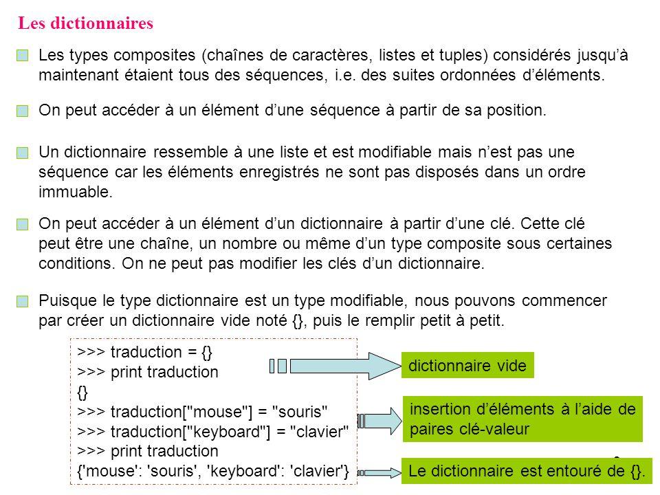 3 Les dictionnaires On peut aussi créer un dictionnaire comme suit : >>> D = { Duclos : Pierre , Perron : Luc } >>> F, G = {}, {5: Mauve , 2: Rouge } >>> print D, F, G { Perron : Luc , Duclos : Pierre } {} {2: Rouge , 5: Mauve } Lordre dans lequel les éléments apparaissent à laffichage du dictionnaire ne correspond pas nécessairement à celui dans lequel nous les avons insérés.