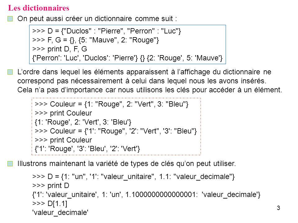 3 Les dictionnaires On peut aussi créer un dictionnaire comme suit : >>> D = {