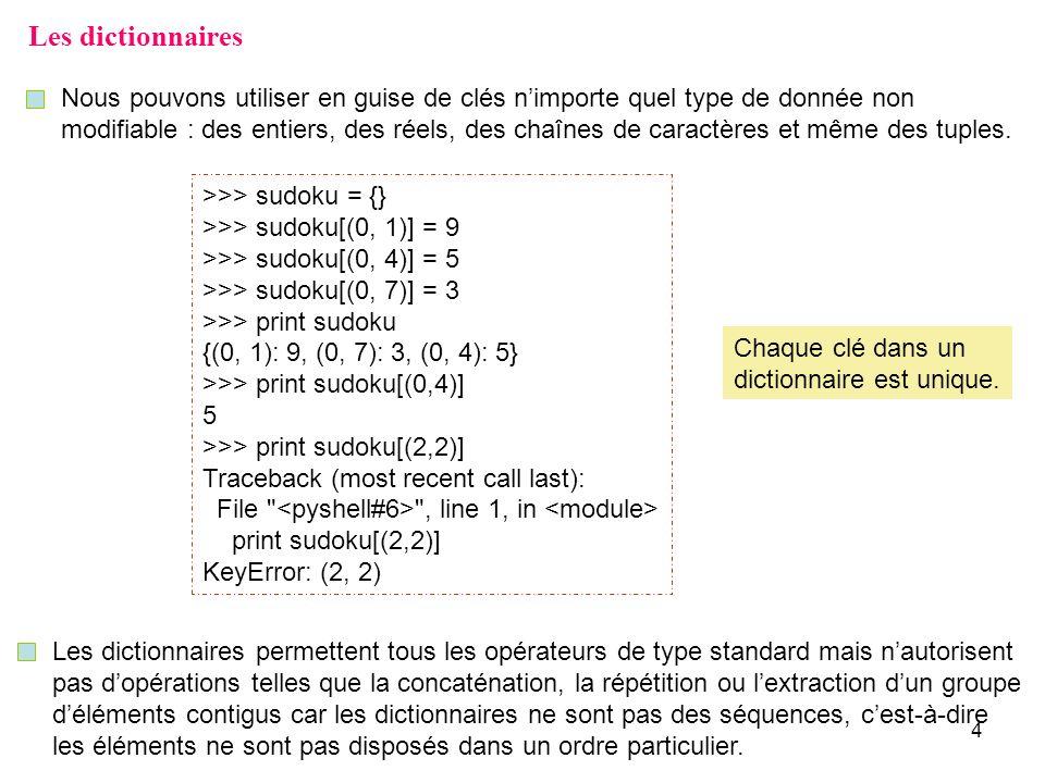 4 Les dictionnaires Nous pouvons utiliser en guise de clés nimporte quel type de donnée non modifiable : des entiers, des réels, des chaînes de caract