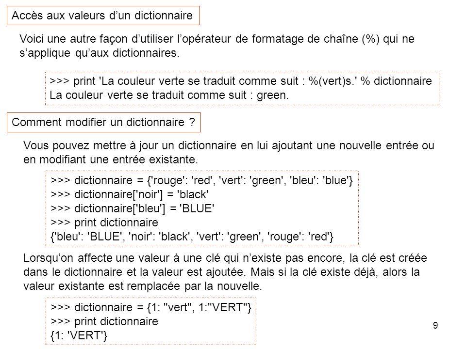 10 D.values() : renvoie la liste des valeurs utilisées dans le dictionnaire D.