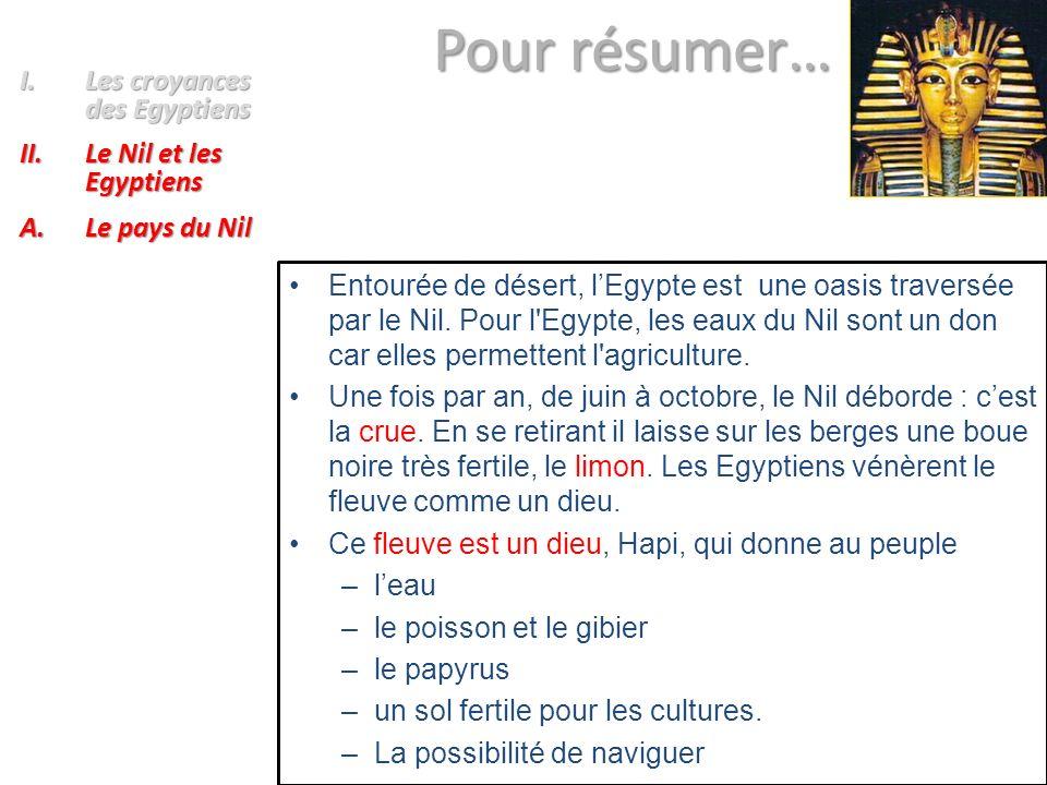Pour résumer… Pour résumer… Entourée de désert, lEgypte est une oasis traversée par le Nil. Pour l'Egypte, les eaux du Nil sont un don car elles perme